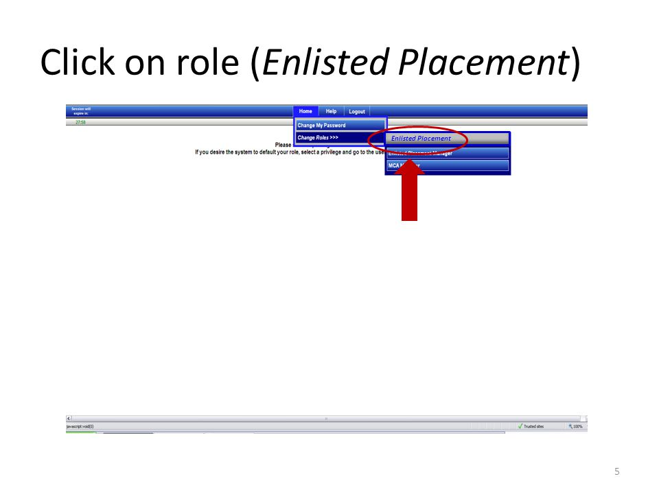 Click on role (Enlisted Placement)