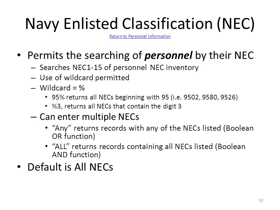 Navy Enlisted Classification (NEC) Return to Personnel Information
