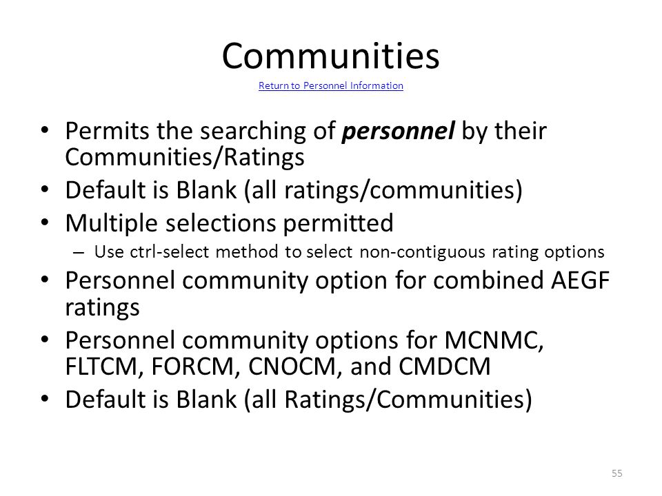 Communities Return to Personnel Information