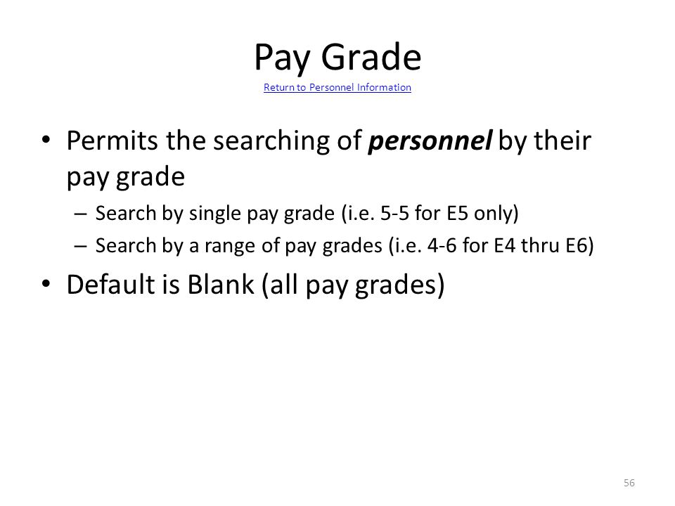 Pay Grade Return to Personnel Information