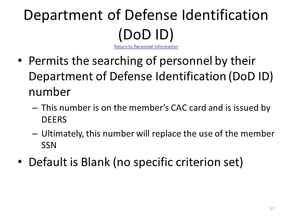 Department of Defense Identification (DoD ID) Return to Personnel Information