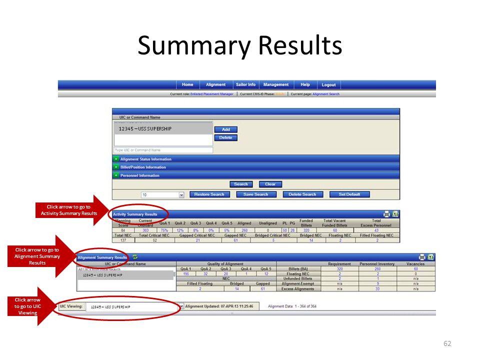 Summary Results Click arrow to go to Activity Summary Results