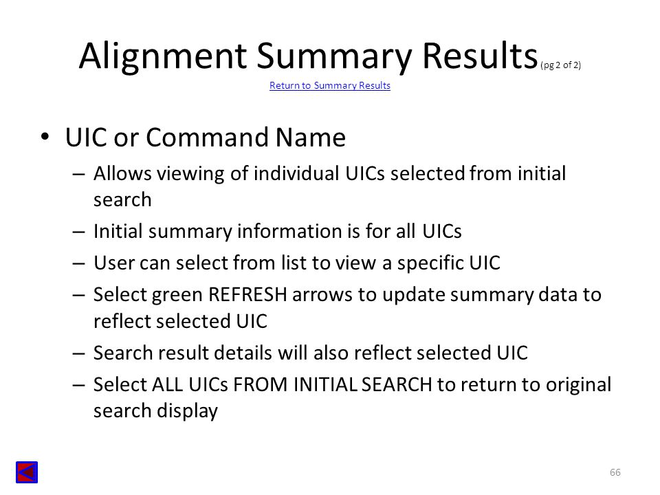 Alignment Summary Results (pg 2 of 2) Return to Summary Results