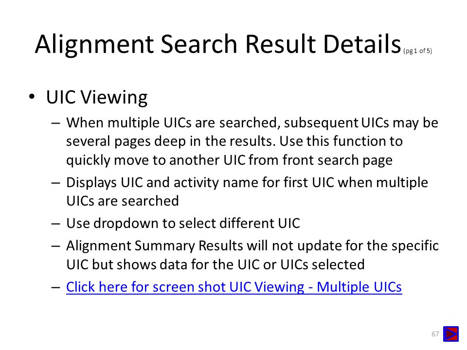 Alignment Search Result Details (pg 1 of 5)