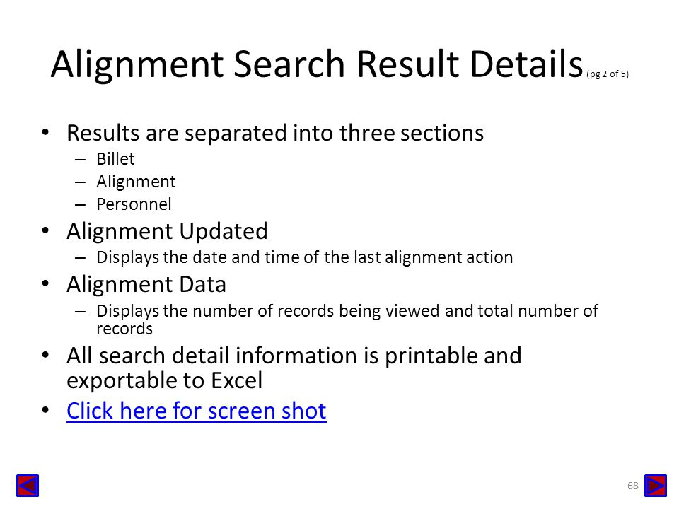 Alignment Search Result Details (pg 2 of 5)