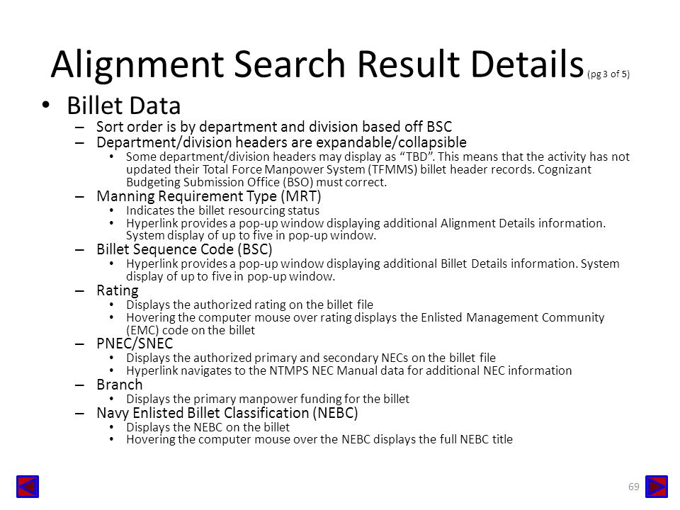 Alignment Search Result Details (pg 3 of 5)