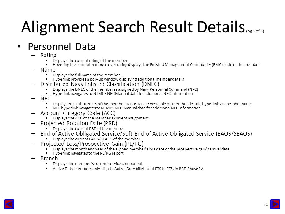 Alignment Search Result Details (pg 5 of 5)
