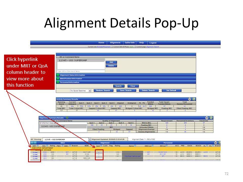 Alignment Details Pop-Up