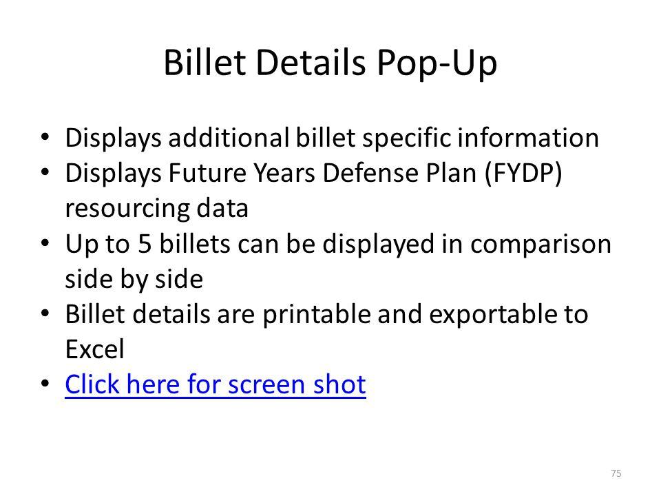 Billet Details Pop-Up Displays additional billet specific information