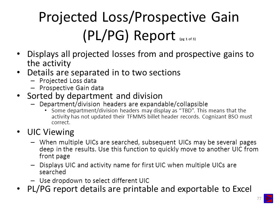 Projected Loss/Prospective Gain (PL/PG) Report (pg 1 of 3)