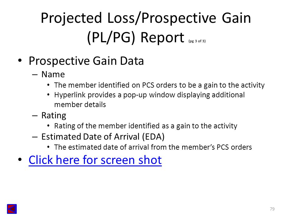 Projected Loss/Prospective Gain (PL/PG) Report (pg 3 of 3)