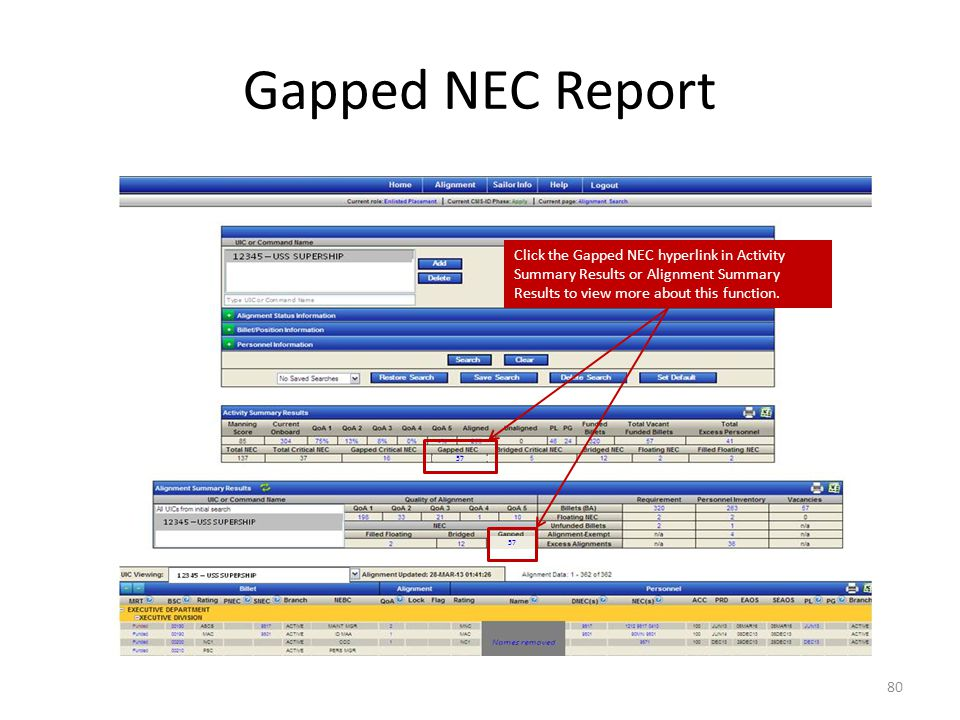 Gapped NEC Report Click the Gapped NEC hyperlink in Activity Summary Results or Alignment Summary Results to view more about this function.