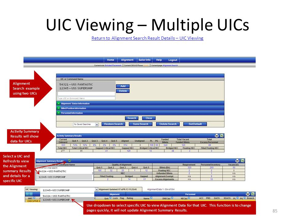 UIC Viewing – Multiple UICs Return to Alignment Search Result Details – UIC Viewing