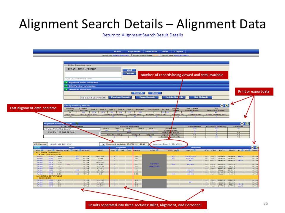 Alignment Search Details – Alignment Data Return to Alignment Search Result Details