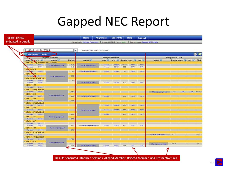 Gapped NEC Report Type(s) of NEC indicated in details