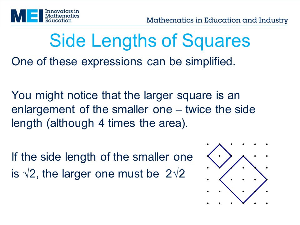 Side Lengths of Squares