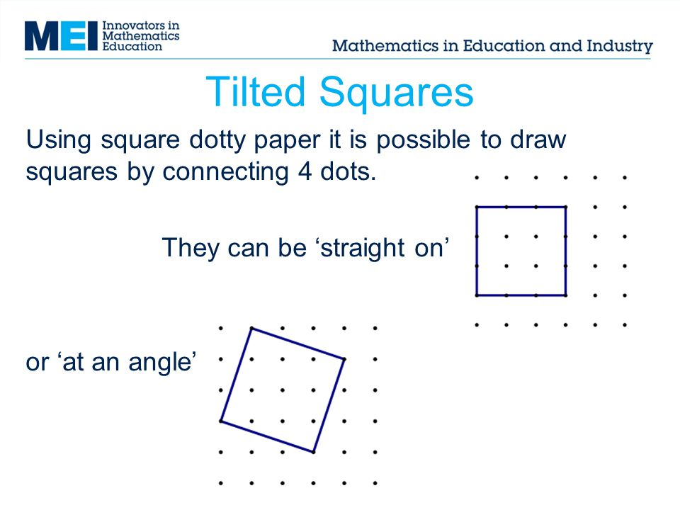 Tilted Squares Using square dotty paper it is possible to draw squares by connecting 4 dots. They can be 'straight on'