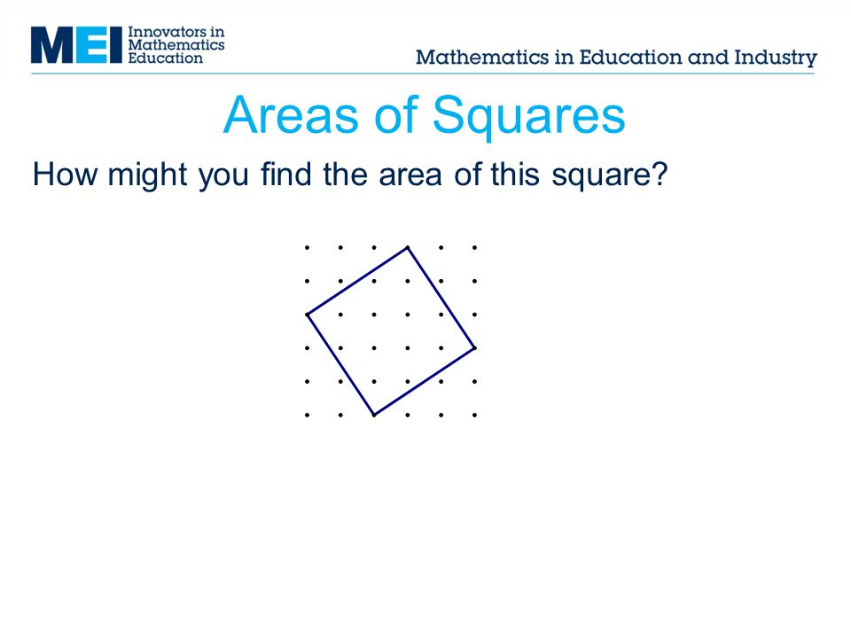 How might you find the area of this square