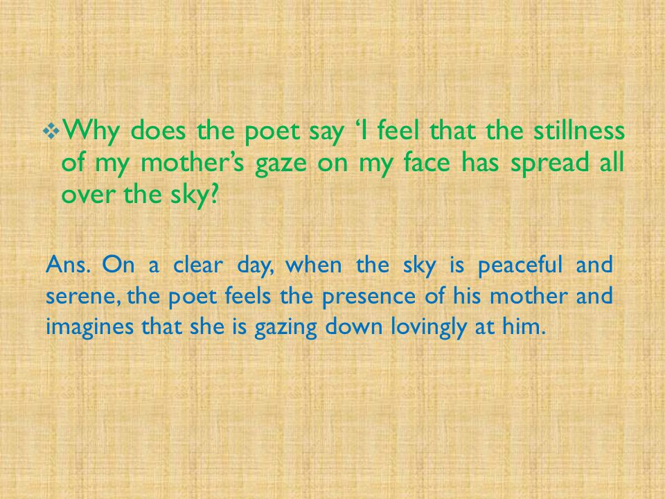 Why does the poet say 'I feel that the stillness of my mother's gaze on my face has spread all over the sky