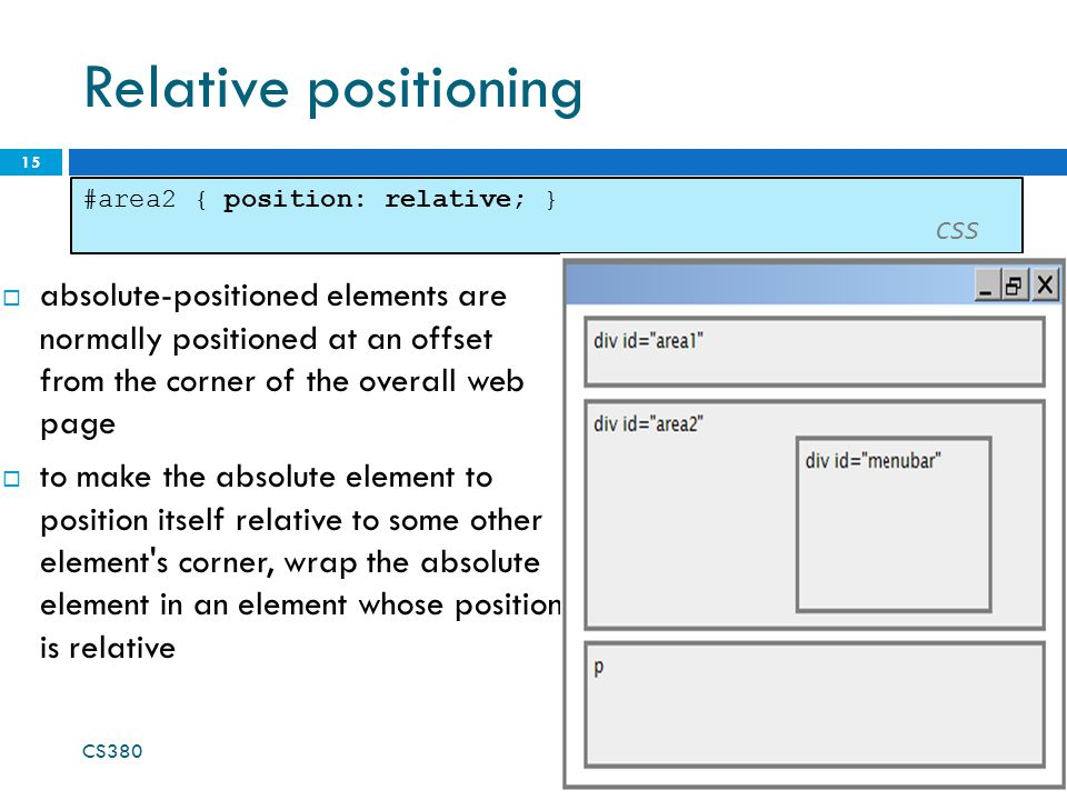 Relative positioning #area2 { position: relative; } CSS.