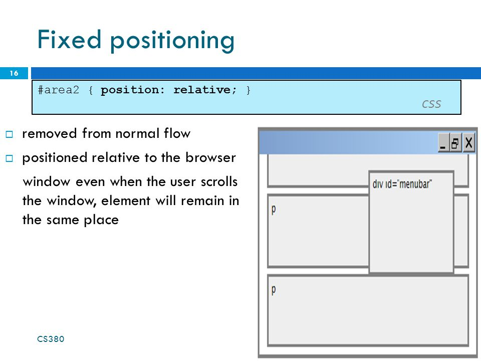Fixed positioning removed from normal flow