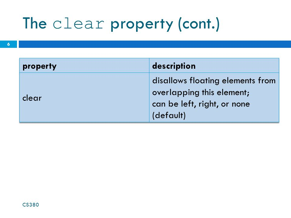 The clear property (cont.)
