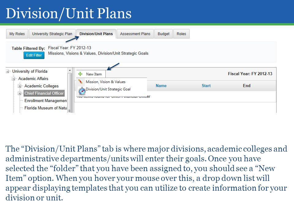 Division/Unit Plans