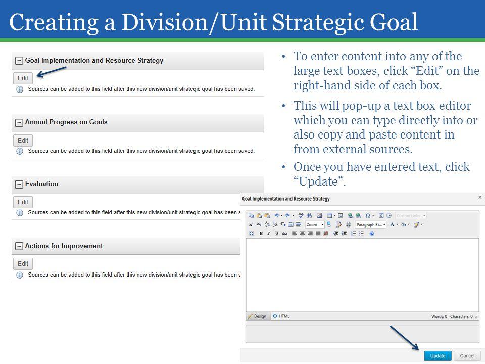 Creating a Division/Unit Strategic Goal