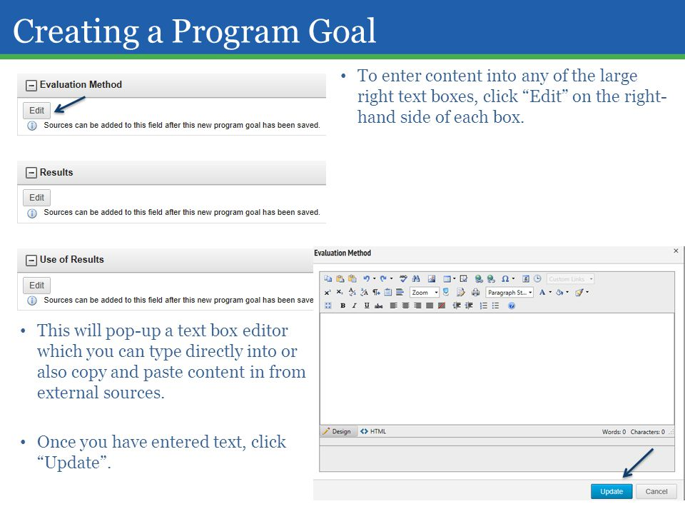 Creating a Program Goal