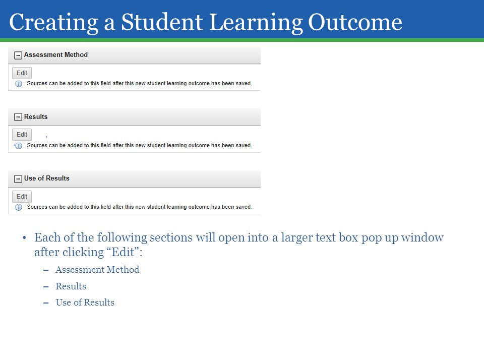 Creating a Student Learning Outcome