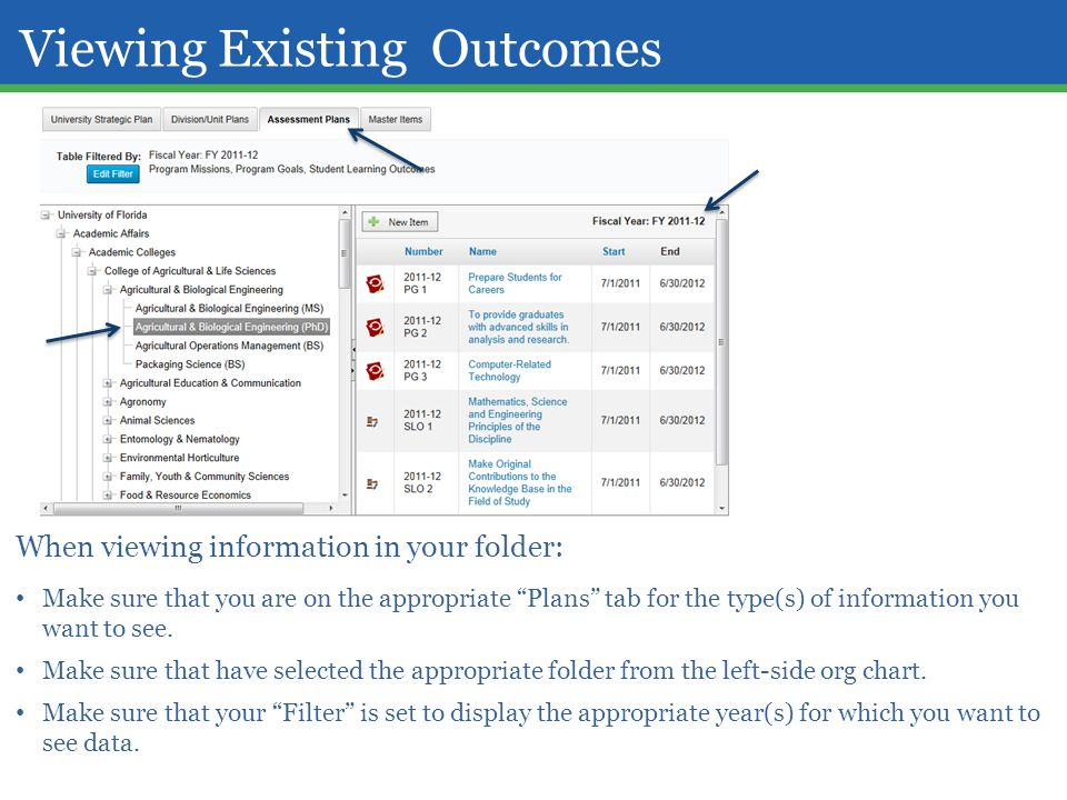 Viewing Existing Outcomes