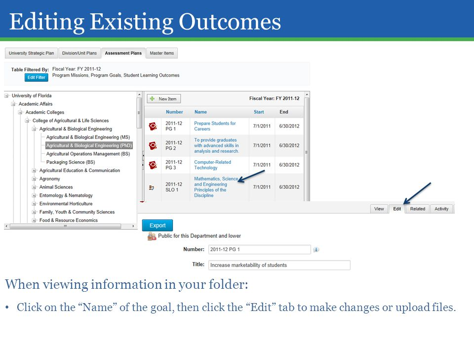 Editing Existing Outcomes