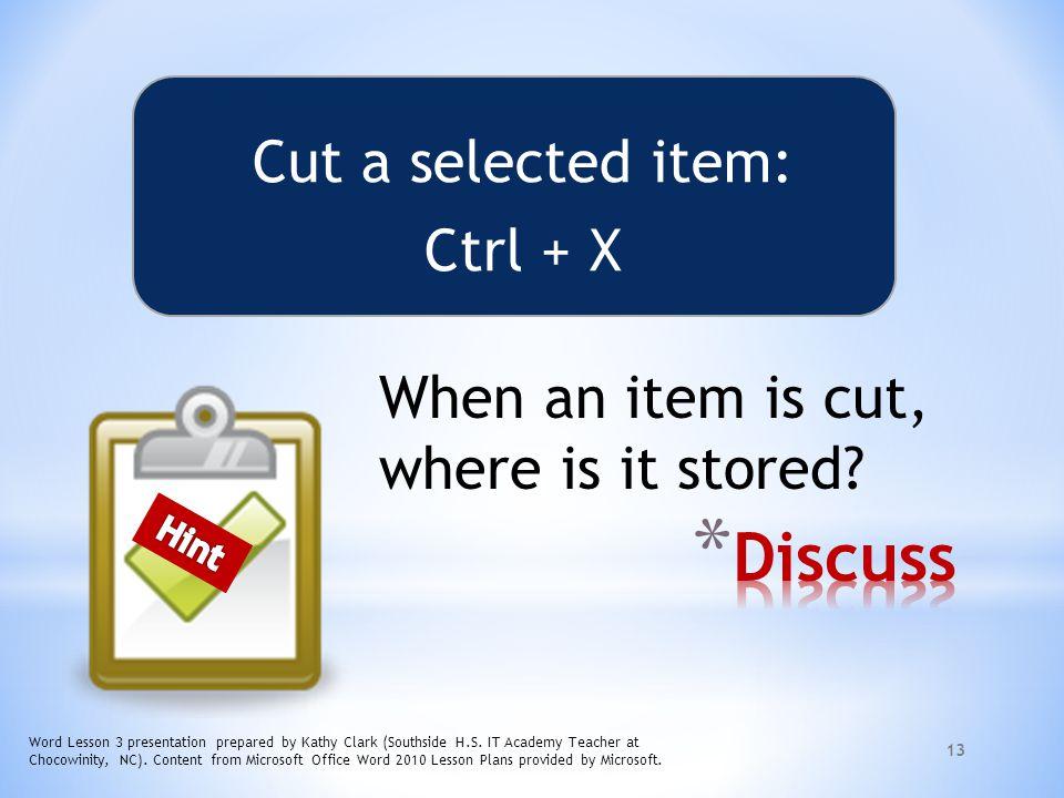 Discuss Cut a selected item: Ctrl + X