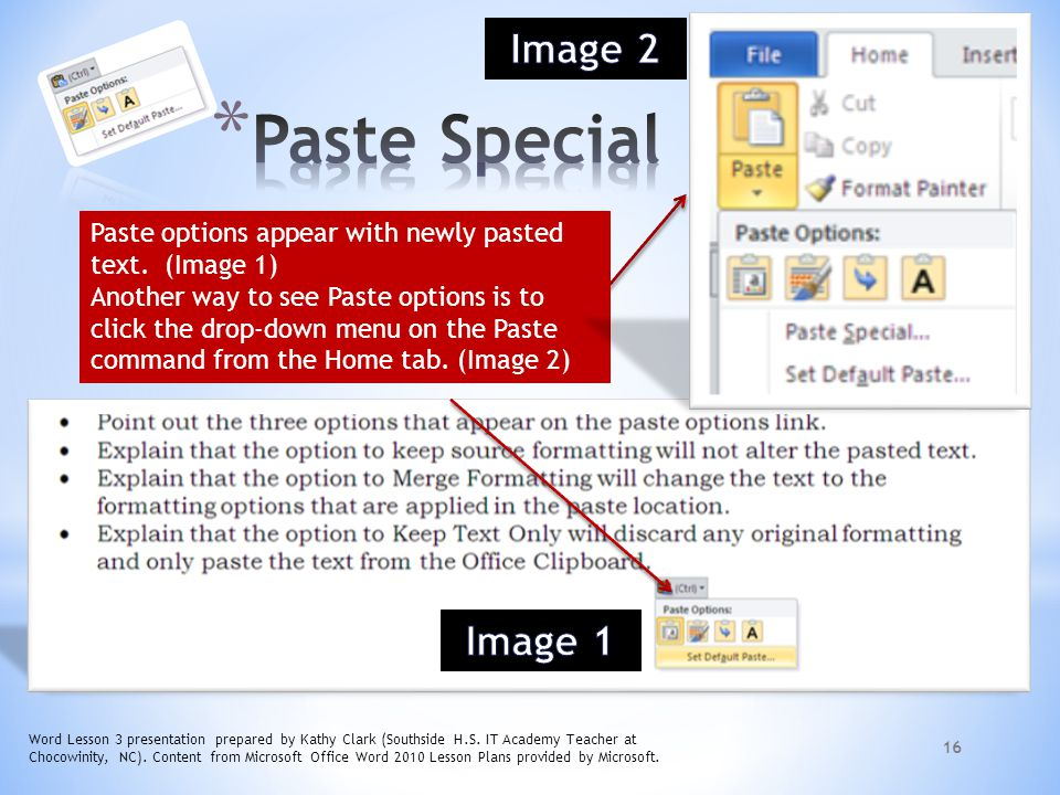 Paste Special Image 2 Image 1