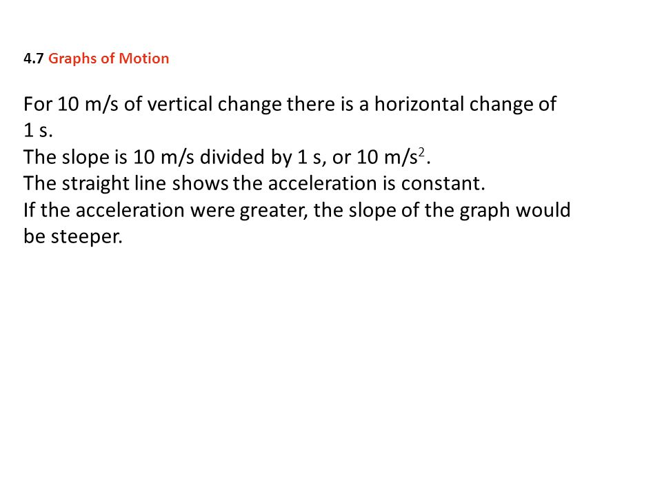 For 10 m/s of vertical change there is a horizontal change of 1 s.