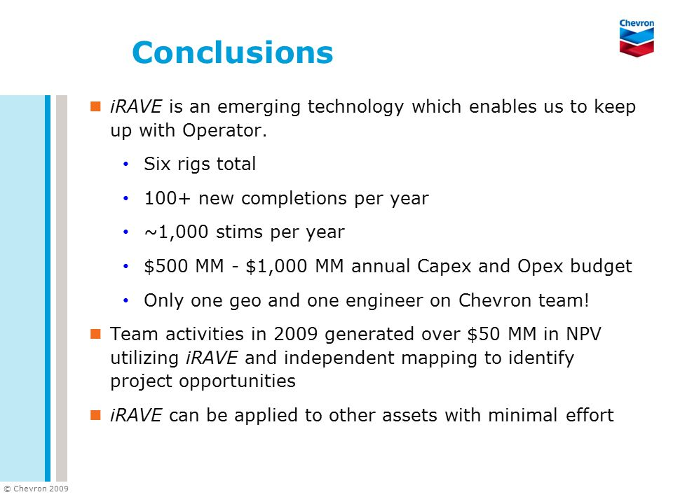Conclusions iRAVE is an emerging technology which enables us to keep up with Operator. Six rigs total.