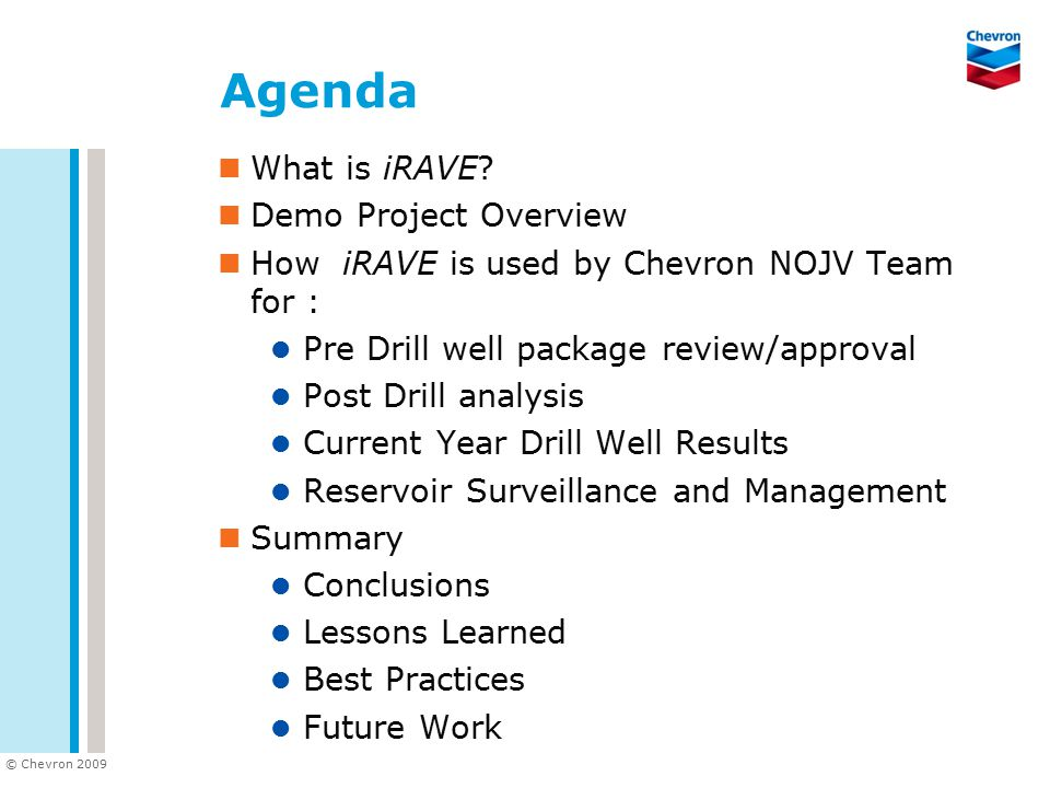 Agenda What is iRAVE Demo Project Overview