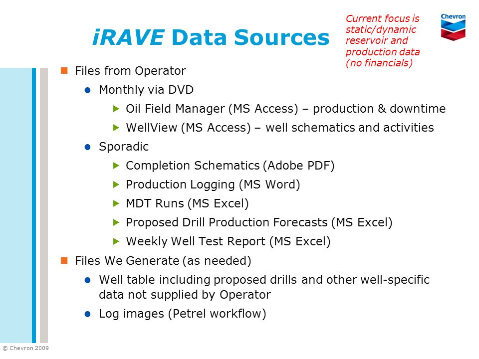 iRAVE Data Sources Files from Operator Monthly via DVD