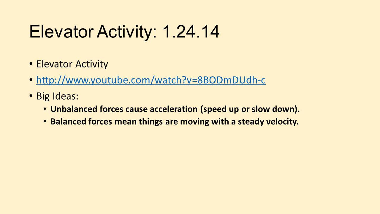 Elevator Activity: 1.24.14 Elevator Activity