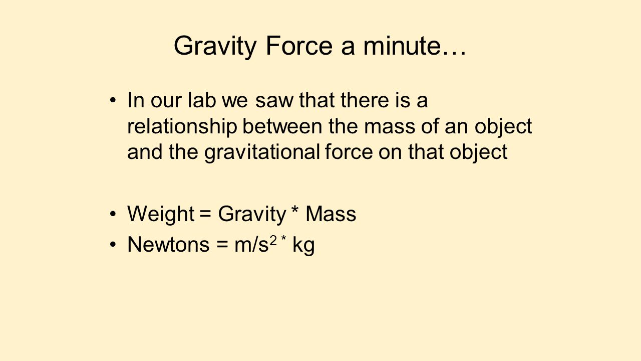 Gravity Force a minute…