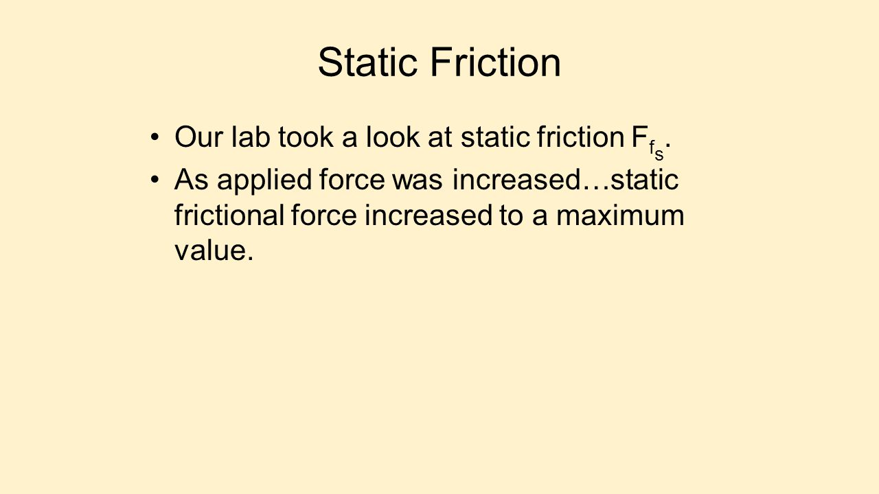Static Friction Our lab took a look at static friction Ffs.