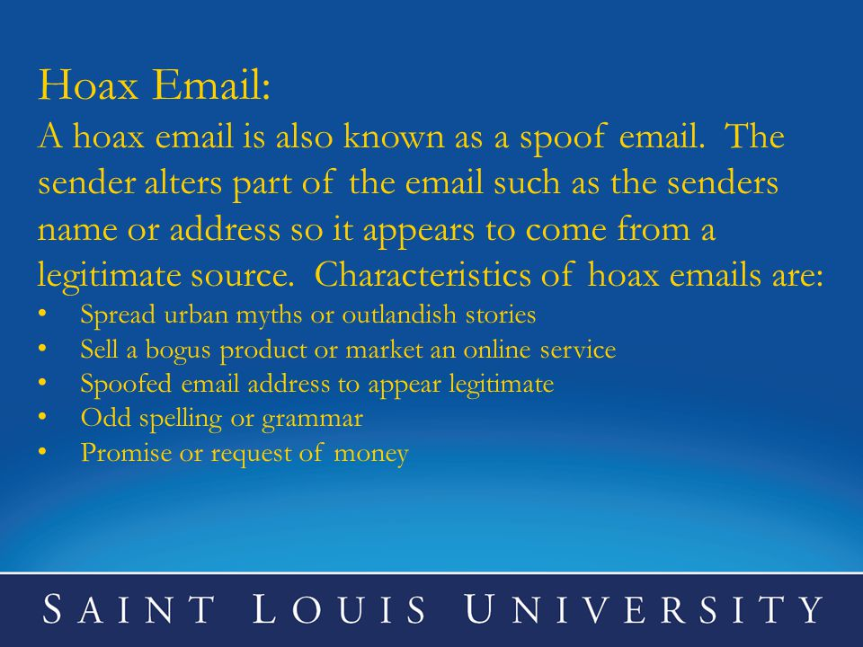 Hoax Email: