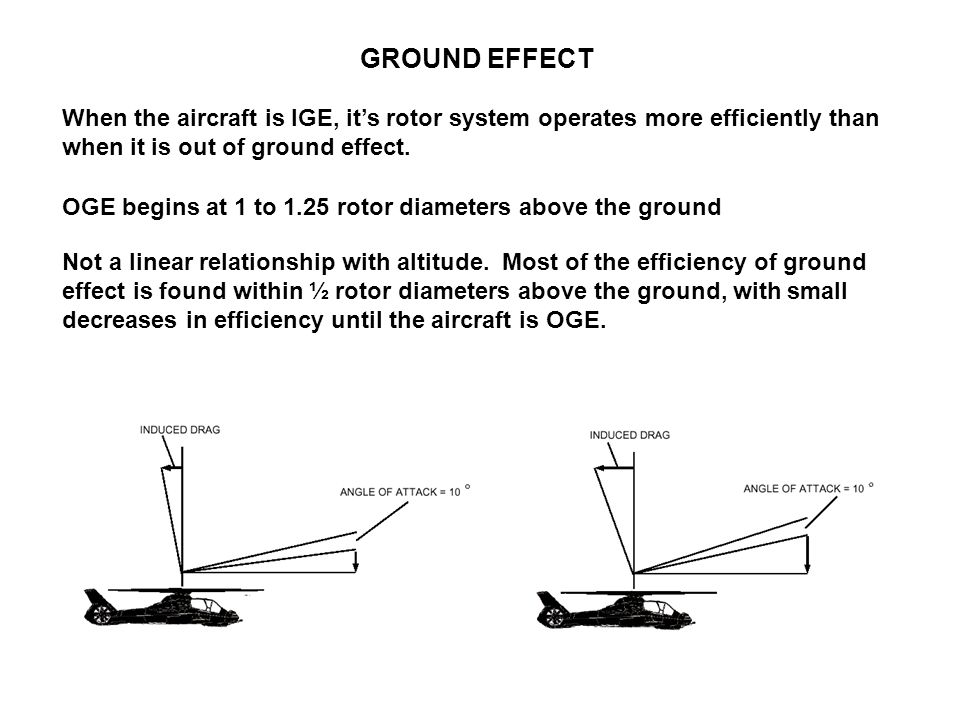 GROUND EFFECT When the aircraft is IGE, it's rotor system operates more efficiently than when it is out of ground effect.