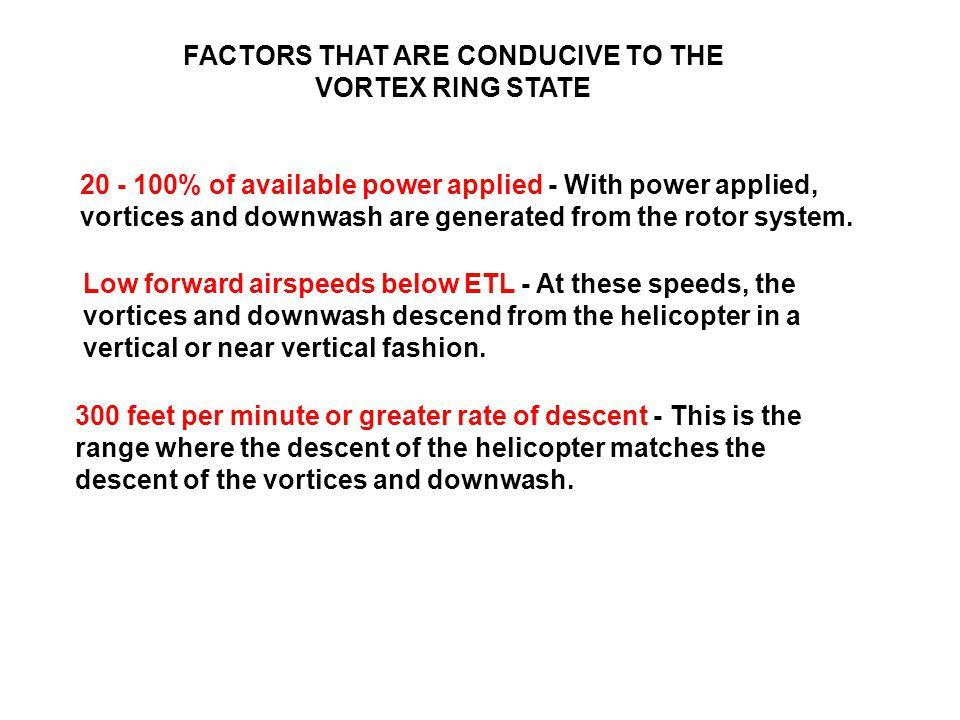 FACTORS THAT ARE CONDUCIVE TO THE VORTEX RING STATE