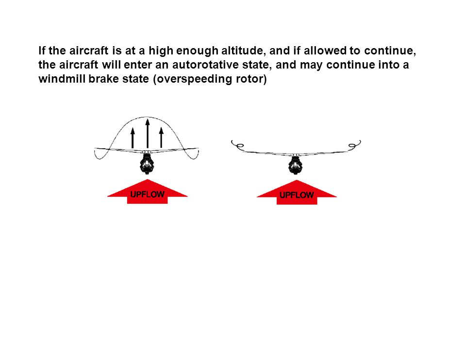 If the aircraft is at a high enough altitude, and if allowed to continue, the aircraft will enter an autorotative state, and may continue into a windmill brake state (overspeeding rotor)