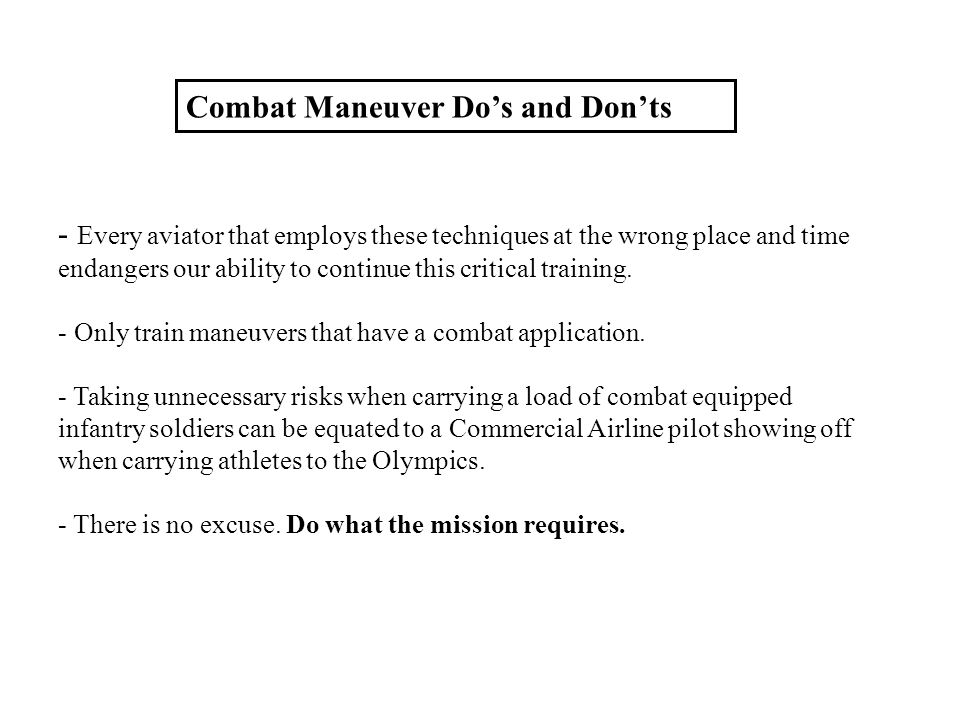 Combat Maneuver Do's and Don'ts