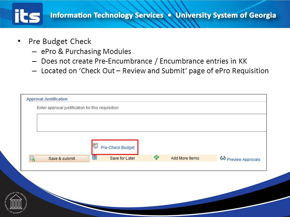 Pre Budget Check ePro & Purchasing Modules