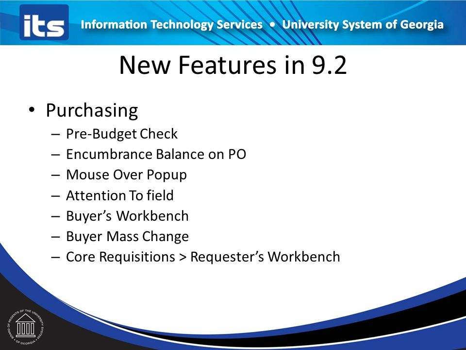 New Features in 9.2 Purchasing Pre-Budget Check
