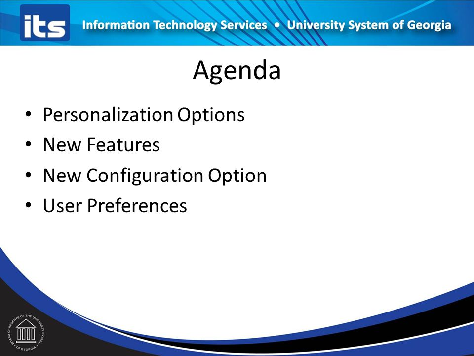 Agenda Personalization Options New Features New Configuration Option