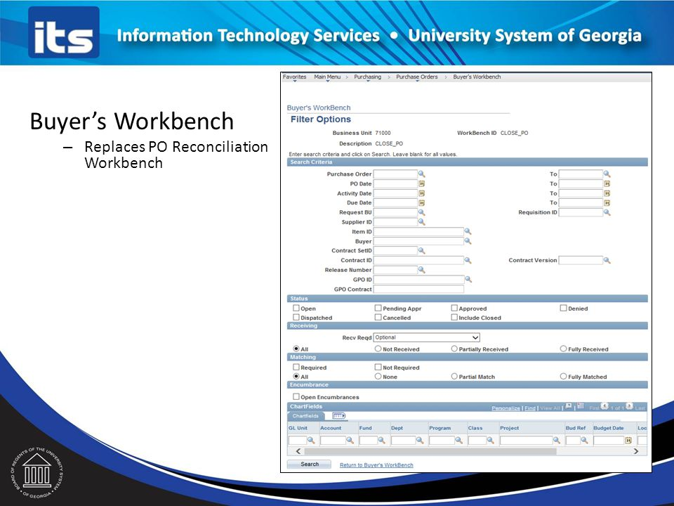 Buyer's Workbench Replaces PO Reconciliation Workbench